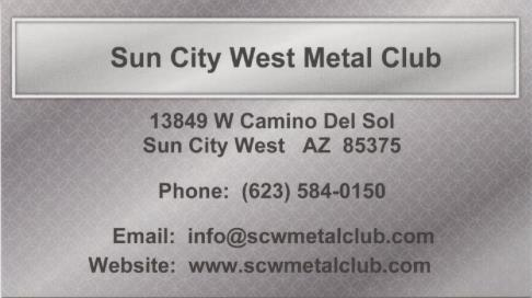 Sun City West Metal Club Business Card Image